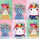Floral Pets Blumen Blend Fabrics Floral Kitty Multi...