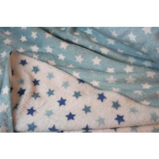 Wellnessfleece Softplüsch Doppelflausch Blau Blue Sterne