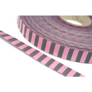 Webband Farbenmix Ringelwebband  Rosa Grau