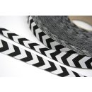 Webband Farbenmix Chevron Schwarz-Weiß