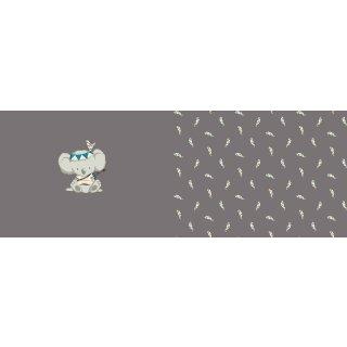 Baumwolljersey Druck Boho Koala Panel by emmapünktchen Grau