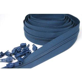 Endlos Reißverschluss Paket 3 Meter inkl. 12 Zipper Jeansblau