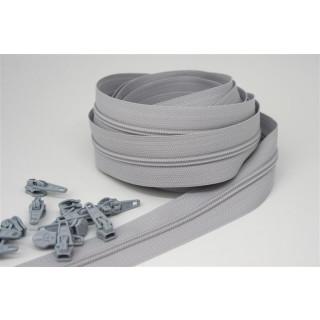 Endlos Reißverschluss Paket 3 Meter inkl. 12 Zipper Silbergrau