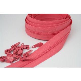 Endlos Reißverschluss Paket 3 Meter inkl. 12 Zipper Rosa Pfirsich