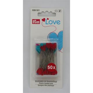 PRYM  LOVE  Stecknadeln mit Kunststoffkopf Herz blau/rot