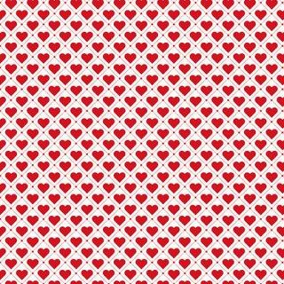 Basic Herzen Weiß Rot Tiled Up