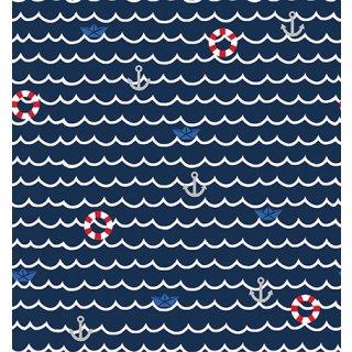 Maritim Season Living Wasser Wellen Anker Dunkelblau