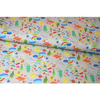 Baumwolldruckstoff Bunt Kindermotive