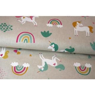 Leinenoptik Rainbow Unicorn Einhorn Regenborgen Beige Baumwollgemisch