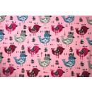 Jersey Baumwolljersey Mädchen Vögel Rosa Kinder