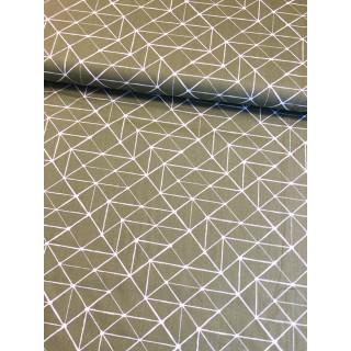 Baumwolldruckstoff Geometrische Linen Olivgrün