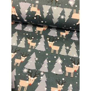 Sweat  French Terry Frohe Weihnachten Bäume Blau Elch Rentier