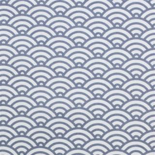 Baumwolldruckstoff Muscheldesign Rauchblau