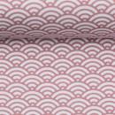 Baumwolldruckstoff Muscheldesign Rosa Altrosa