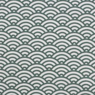 Baumwolldruckstoff Muscheldesign Petrol Grün