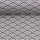 Baumwolldruckstoff Muscheldesign Anthrazit Dunkelgrau