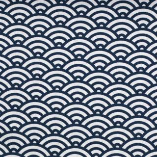 Baumwolldruckstoff Muscheldesign Blau Dunkelblau