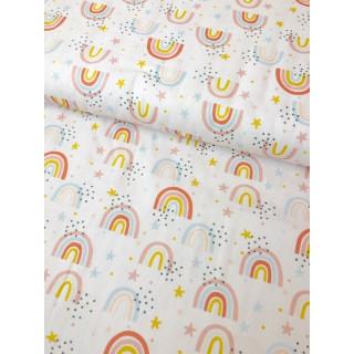 Baumwolldruckstoff Regenbogen Weiß