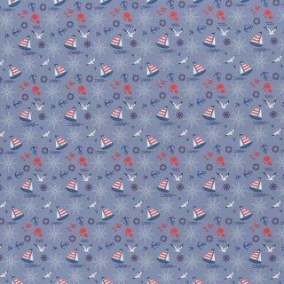 Maritim  Baumwolldruckstoff Blau Anker Möwen