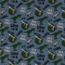 Baumwolljersey Dino Wild Things Roar Blau Grün Jersey