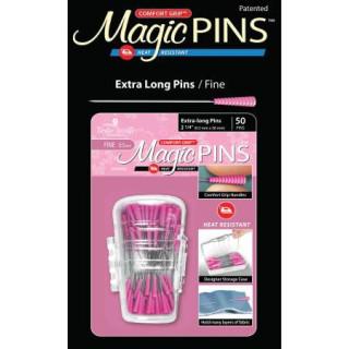 Magic Pins Stecknadeln mit Griff Rosa Extra Long Pins Fine 50 Stück