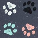 Canvas Hundepfoten Tatzen Anthrazit Taschenstoff