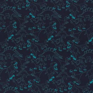 Baumwolljersey Dino Dinosaurier Blau Türkis