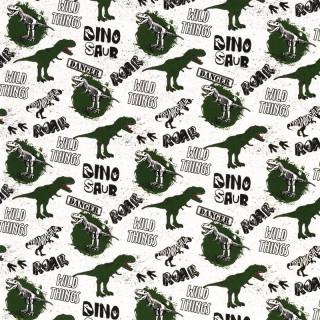 Baumwolljersey Dino Wild Things Roar Weiß Grün Jersey