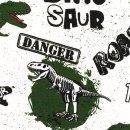 Baumwolljersey Dino Wild Things Roar Weiß Grün...