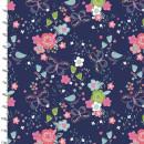 Hello Spring Navy Floral Blumen Schmettlinge Blau