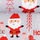 Baumwolldruckstoff Weihnachten Hohoho Grau Santa