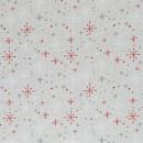 Canvas Leinenoptik Weihnachten Christmas Sterne Kristalle Rot Grau Taschenstoff