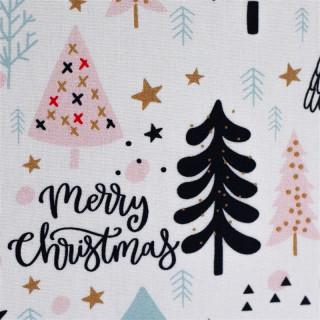 Baumwolldruckstoff Weihnachten Bäume Gold Rosa Weiß