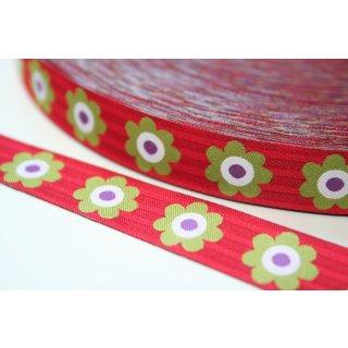 Webband Flowers Blumen Streifen Rot