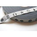 Webband Zeichensprache Silber/Schwarz