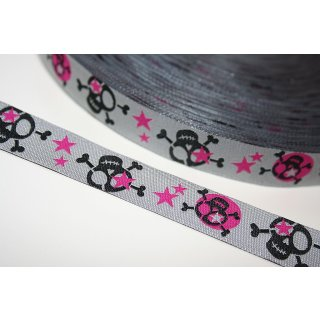 Webband Skulls Totenköpfe Silber Pink