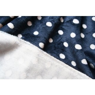 Shannon Dots Cuddle Fleece Plüsch Minky Blau Navy